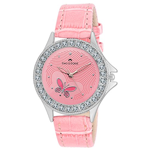 Swisstone VOGLR501-PINK Pink Dial Pink Strap Analog Wrist Watch for Women/Girls