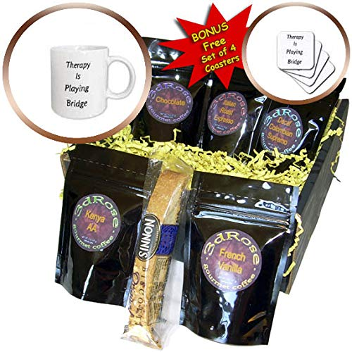 3dRose lens Art by Florene - Therapy Is - Image of Therapy Is Playing Bridge in Bold Words - Coffee Gift Basket (cgb_311386_1)