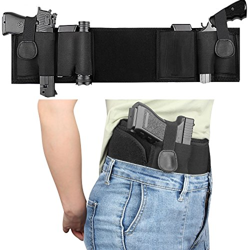 UP UPKJ Gun Holster Belly Band with Dual Mag Pouches Holster for Concealed Carry, Neoprene Waist Band Handgun Carrying System, Elastic Hand Gun Holder for Men and Women Right or Left Hand (Dual Revolver Holster)
