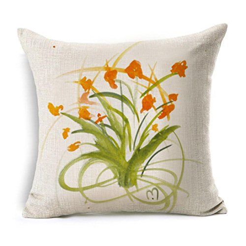 2018 Newly Pillow Case,POCCIOL Flowers Linen Square Throw Flax Pillow Case Decorative Cushion Pillow Cover 45cm x 45cm…