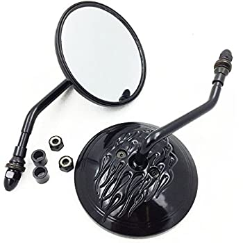 Side Mirrors For Harley Softail Dyna Sportster Touring Black Round Rear View by SMT