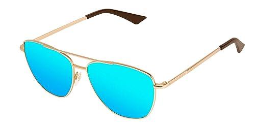 Hawkers A04, Occhiali da Sole Unisex-Adulto, Oro (Dorado / Azul Claro), 60