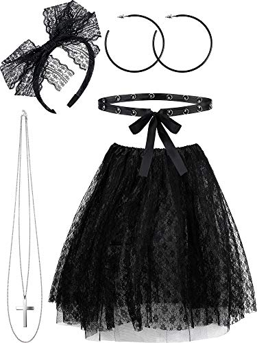Female Pop Star Halloween Costumes (5 Pieces 80s costume Sets, Women's 80s Lace Pop Star Halloween Accessories Set, Lace Tutu Skirt Outfits for Retro)