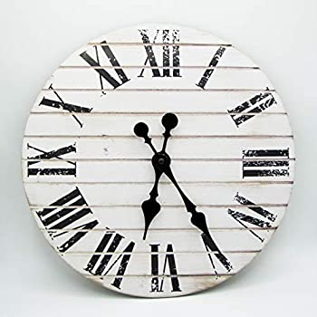 RUSTIC WALL CLOCK -CLOCKS FOR LIVING ROOM DECOR -14 INCH -FARMHOUSE CLOCK RUSTIC CLOCK - LARGE DECORATIVE HANDS -BATTERY OPERATED NON TICKING -WOOD PRINTED WALL CLOCK -PRINTED VINTAGE WHITE SHIPLAP