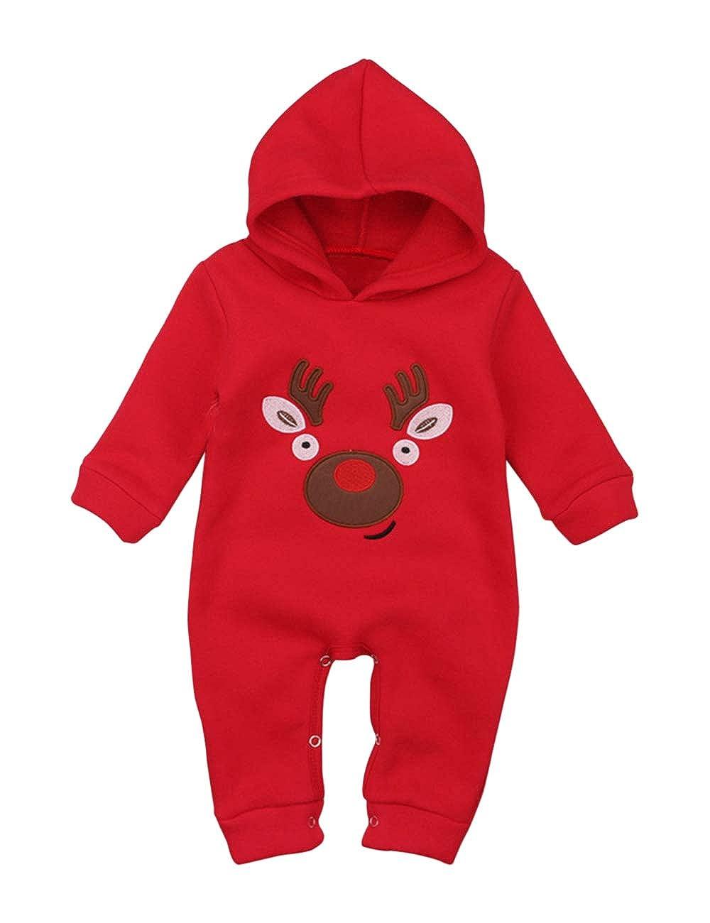 BESBOMIG Neonato Pagliaccetto Bambino Capi di Abbigliamento Cappuccio Giacca Cappotto - Traspirante Natale Jumpsuit Unisex Caldo Outfits
