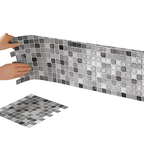 Arch White Finish - Collections Etc Peel and Stick Backsplash Tiles, Mosaic 10-Inch x 10-Inch Backsplash Tiles for Bathrooms and Kitchens Set of 6 Wall Tile Square Sheets, Neutral Colors, Black and White