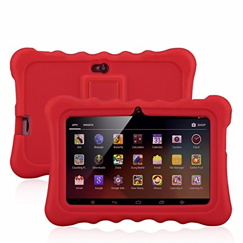7″ Kids Tablet PC, Ainol Q88 Android 4.4 External 3G 8GB ROM 512MB RAM Tablet with Dual Camera WIFI USB Phablet (Red)