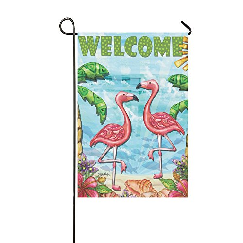 llyaon.iao Flamingo Beach Summer Garden Flag Welcome Tropica