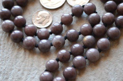 (PURPLE JADE HAND KNOTTED EXCLUSIVE JAPA MALA 10 MM BEADS TOP GRADE PRAYER NECKLACE. BLESSED & ENERGIZED (54+1) HINDU TIBETAN BUDDHIST PRAYER KARMA BEADS SUBHA ROSARY MALA FOR NIRVANA, BHAKTI, FOR REMOVING INNER DOSHAS, FOR CHANTING AUM OM, FOR AWAKENING CHAKRAS, KUNDALINI THROUGH YOGA MEDITATION-FREE OM MALA POUCH INCLUDED)