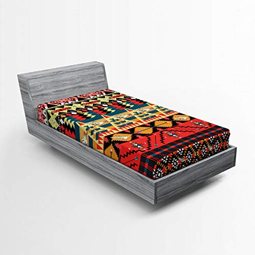 Ambesonne Native American Fitted Sheet, Classic Traditional Aztec Pattern Image Bird Flower Arrow Natural Ethnic, Soft Decorative Fabric Bedding All-Round Elastic Pocket, Twin XL Size, Teal Red ()
