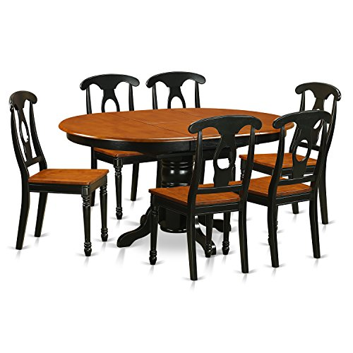 East West Furniture KENL7-BLK-W 7 Piece Dining Table Set with Wood Seat, Black Finish ()