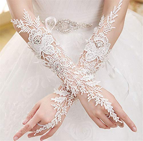 Sexy White Lace Bridal Fingerless Phoenix Pattern Elbow Length Long Woman Gloves For Wedding Party White