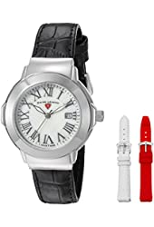 Swiss Legend Women's 'South Beach' Quartz Stainless Steel and Leather Automatic Watch, Color:Black (Model: 20032SM-02-SET)