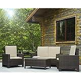 Delicieux Patio Sofa Set 4pcs Outdoor Furniture Set PE Rattan Wicker Cushion Outdoor  Garden Sofa Furniture With