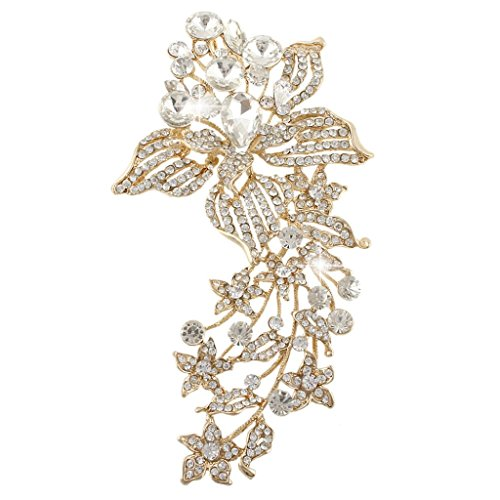 EVER FAITH Orchid Flower 5.9 Inch Brooch Pendant Clear Austrian Crystal Gold-tone by EVER FAITH