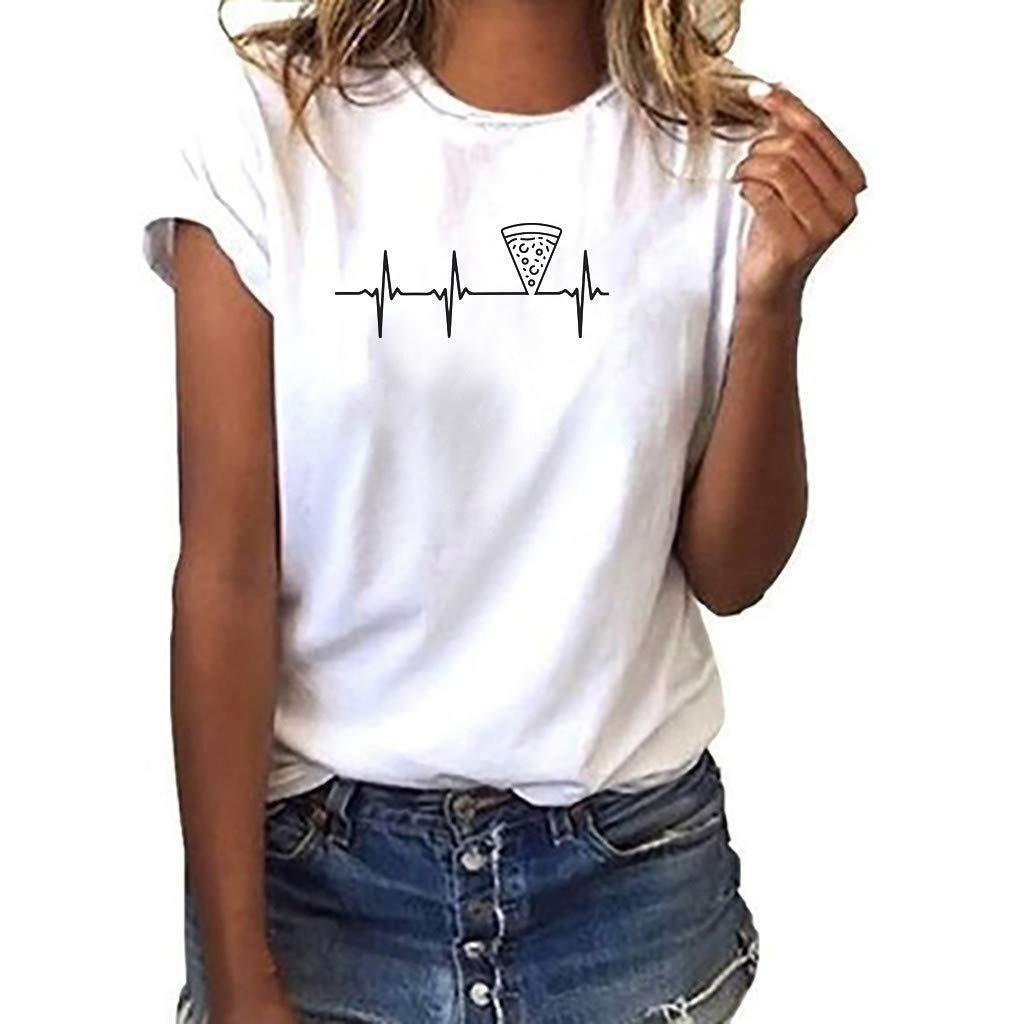 Xinxinyu Bluse Estivi Maglietta Manica Corta Donna Casual Stampa ECG Camicia T-Shirt Sportivi Vintage Cotone Stretch Maglione Tumblr Elegante Estiva Particolari
