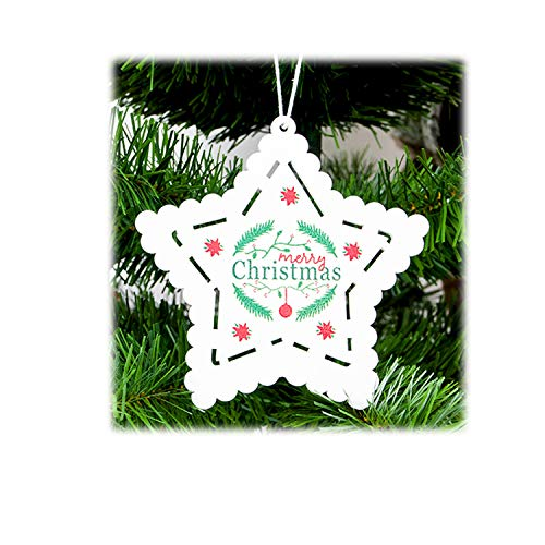 FANRENYOU Santa Clause Bow Bell Tree Ornament Decoration Wooden Snowman Elk Hanging Pendant White Star ()