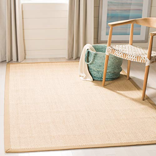 Safavieh Natural Fiber Collection NF141B Tiger Paw Weave Maize and Linen Sisal Area Rug (9' x 12') (Rug 12 Sisal X 12)
