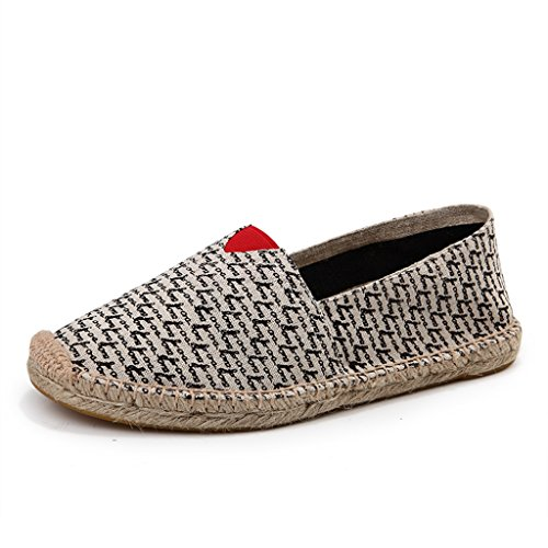 Men's Classic Canvas Slip-On Original Loafer Flat Shoes Casual Sneaker Espadrille Beige 7.5US/250mm (Espadrilles Canvas Beige)