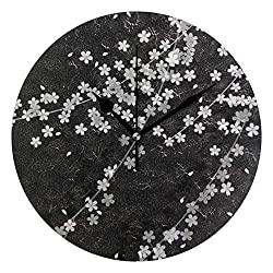 HangWang Wall Clock Japanese White Small Flower Silent Non Ticking Decorative Round Digital Clocks Indoor Outdoor Kitchen Bedroom Living Room