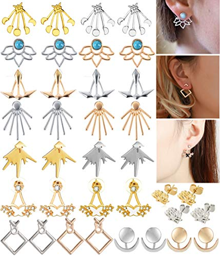 WAINIS 18-20 Pairs Multiple Dainty Lotus Flower Ear Jacket Stud Earrings for Women and Girls Boho Chic Stud Ear Jewelry Earring Set