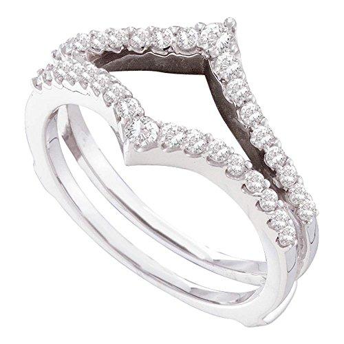 Gold V-shaped Ring Ring - Solid 14k White Gold Diamond Ring Guard Enhancer Wedding Band V Shape Wrap Style Polished Fancy 1/2 ctw