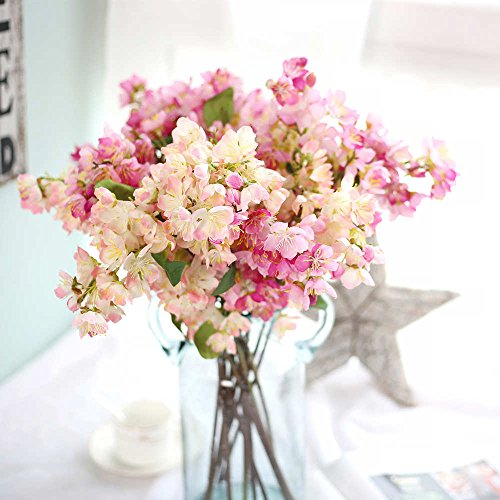Artificial Flowers, Fake Flowers Silk Plastic Artificial Cherry Blossom Bridal Wedding Bouquet for Home Garden Party Wedding Decoration 3 Pcs (Red & Light Pink) (Pink Light Blossoms Cherry)