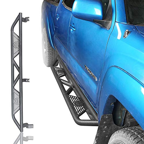 (Hooke Road Solid Steel Running Boards Side Steps Nerf Bars for 2005-2015 2 Gen Toyota Tacoma Double Cab 4-Door)