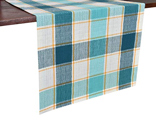 - Glamburg 2 Pack Cotton Farmhouse Table Runner 90 Inch, 16x90 Buffalo Check Woven Table Runners with Mitered Corners, Rustic Decor Dining Outdoor Kitchen Party Table Runner Teal Turquoise Natural