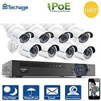 Techage 8CH 1080P POE NVR CCTV System Indoor Outdoor Waterproof Home Security Surveillance Kit With 8PCS IP Camera, Without Hard Drive