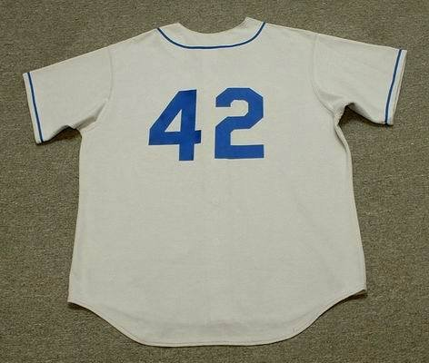 JACKIE ROBINSON Brooklyn Dodgers 1955 Majestic Cooperstown Throwback Away Baseball Jersey, XL