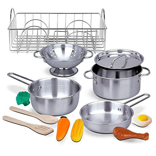 Pots and Pans with Drainer and Play Food