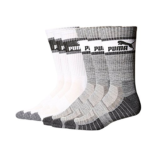 Mens 6 Pair Puma Crew Socks Gray-White by PUMA