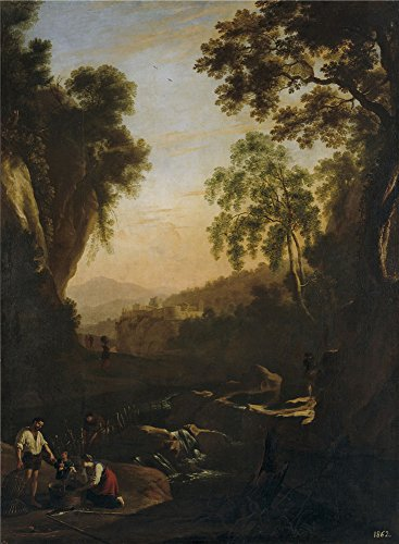 Oil Painting 'Swanevelt Herman Van Paisaje Con Familia De Pescadores Al Atardecer 1639 41' 30 x 41 inch / 76 x 104 cm , on High Definition HD canvas prints - Mobile Al Sunglasses