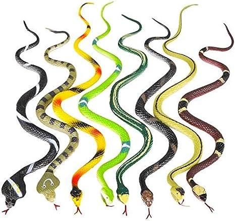 "12 Rubber RAINFOREST Snakes//14/"" Rain Forest Snake Figures//PARTY Favors Toys"
