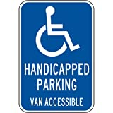 ComplianceSigns Aluminum Parking Control sign, Reflective 18 x 12 in. with Parking Handicapped info in English, Blue