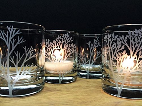 Forest Branches Candle Holders Set Of 4 Engraved Glass Votive Holders Wedding - Glasses Branches