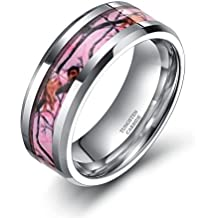 6mm 8mm Pink Camo Tungsten Rings Deer Antlers Hunting Camouflage Wedding Engagement Band