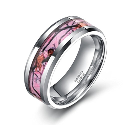 Tungsten Pink Camo Rings Deer Antlers Hunting Camouflage Wedding Engagement Band