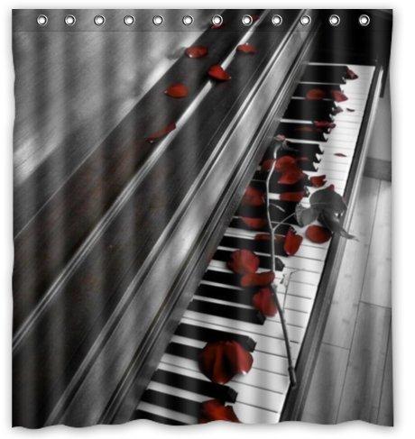 Standard-Store Custom Music Design Graceful Black and White Piano Waterproof Shower Curtain 66