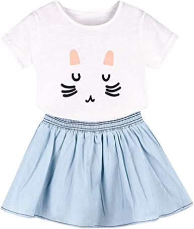 Denim Pants Set Kids Clothes Outfits 2Pcs Baby Girls Dress Cat Print T-shirt