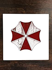 """Bloody Umbrella Corp Art One Piece Premium Ceramic Tile Coaster 4.25""""x4.25"""" Square Drink Protection for Coffee Tables by MWCustoms"""