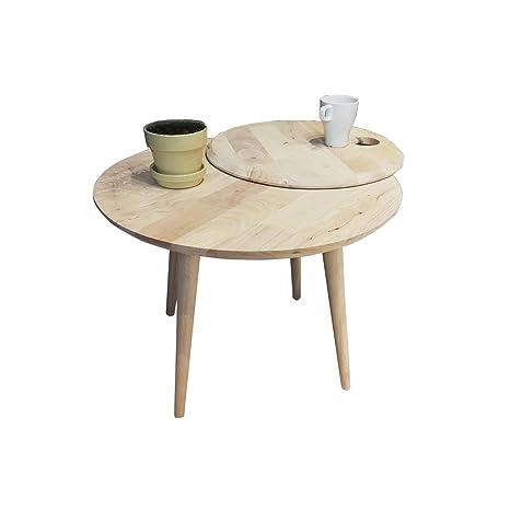 LYLian-Table Hogar Mesa de Madera Maciza, Puede Girar la ...
