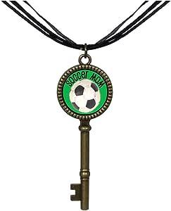 Chicforest Bronze Retro Style Soccer Mom Jewelry Vintage Key Pendant