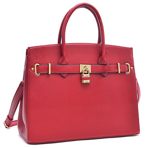 Dasein Faux Leather Padlock Structured Briefcase Satchel Handbag, Tablet, iPad Bag (New Style, 1006 - Red) (New Handbag Red)