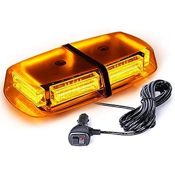 Lumenix Amber Yellow LED Rooftop Strobe Lights 30 LED Flashing Beacon Light 12 Mini Emergency Hazard Warning Strobe Light Bar with Magnetic Base for Tow Trucks Snow Plow Cars Construction Vehicles