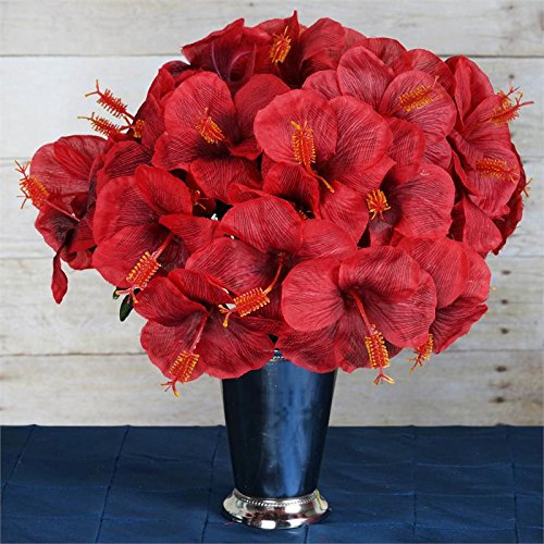Tableclothsfactory 60 pcs Artificial Hibiscus Flowers for Wedding Arrangements - 12 Bushes - Red