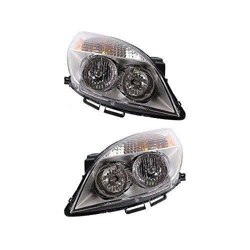 Headlight Set of 2 for 2008 Saturn Aura Green Line Sedan Right and Left Side Assembly -