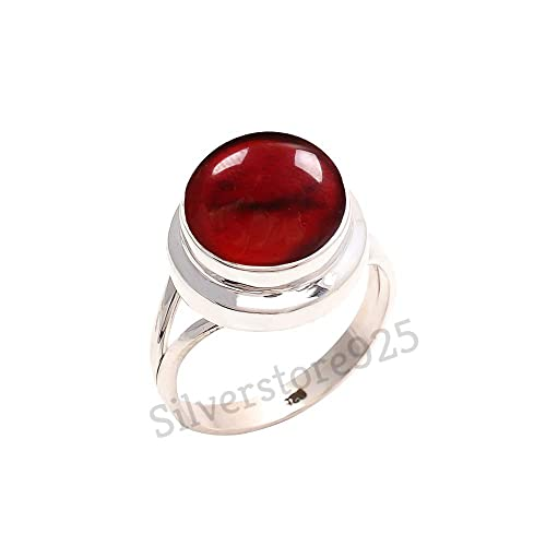 Red Stone Gemstone Ring For Girl Women Gift Ring Size 4 5 6 7 8 9 10 11 12 13 14 15 16 925 Sterling Silver Red Coral Ring