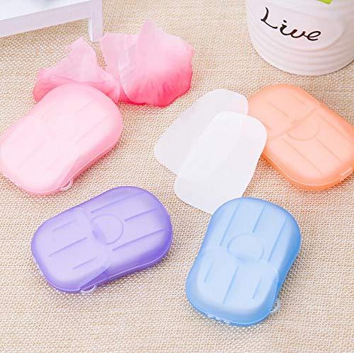 Sendke 20/100/200 Sheets Paper Soap Portable Disposable Hand Soap Paper Hand Washing Bath Paper Soap Soft Foaming Toiletry Soap for Travel Outdoor Random Colors